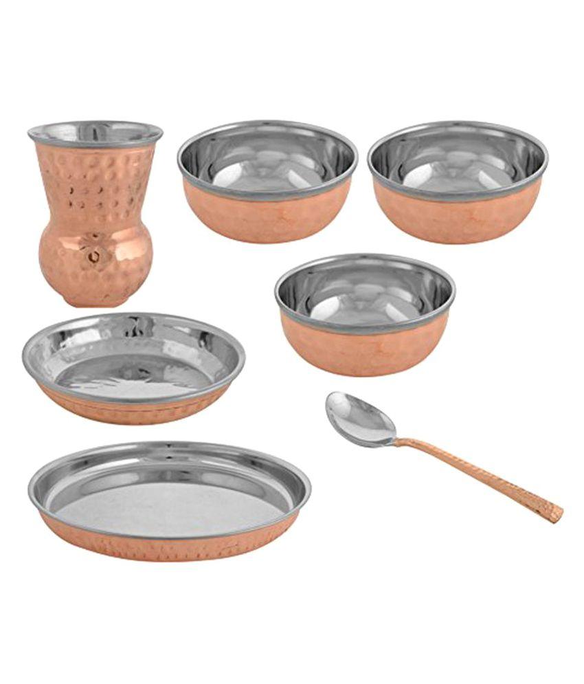 Vintageware mughlai thali set 7 pcs Copper Dinner Set of 7 Pieces