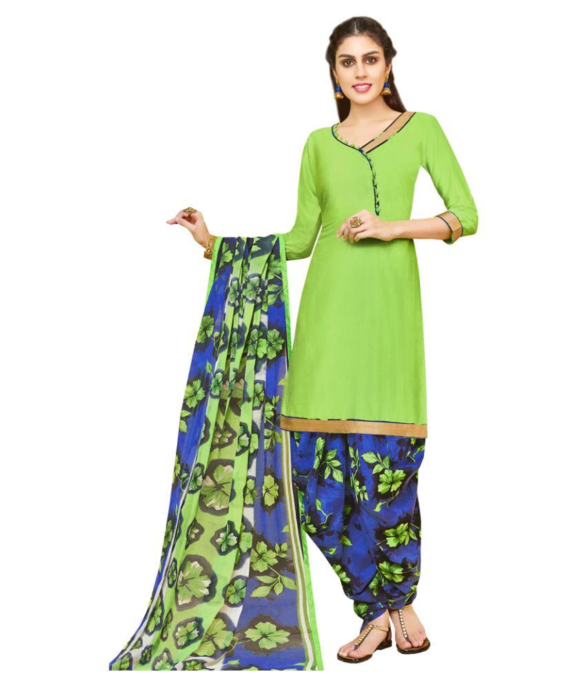 JK apparels Green Cotton Dress Material