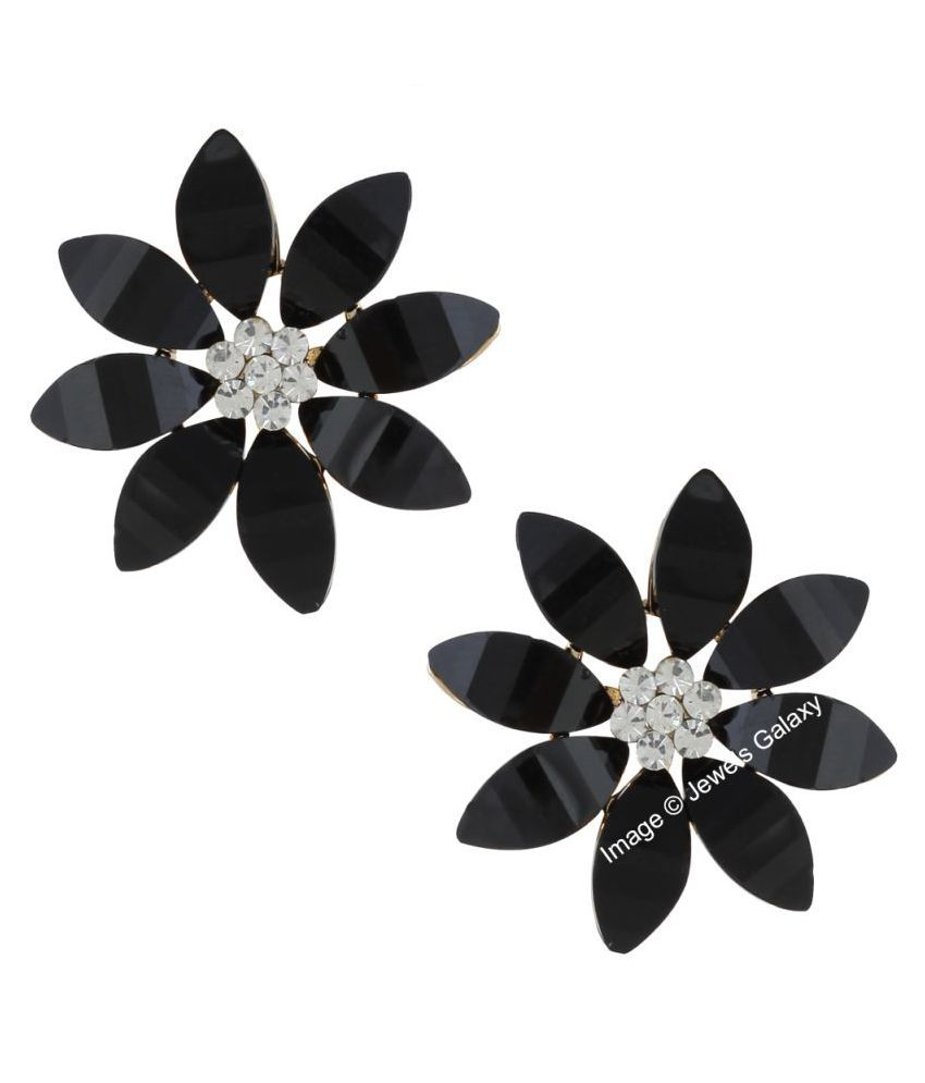 Jewels Galaxy Elegant AD Floral Designer Stunning Black Color Studs Earrings For Women