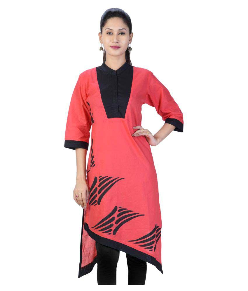 Priyaz Red Cotton Asymmetrical Hemline Kurti