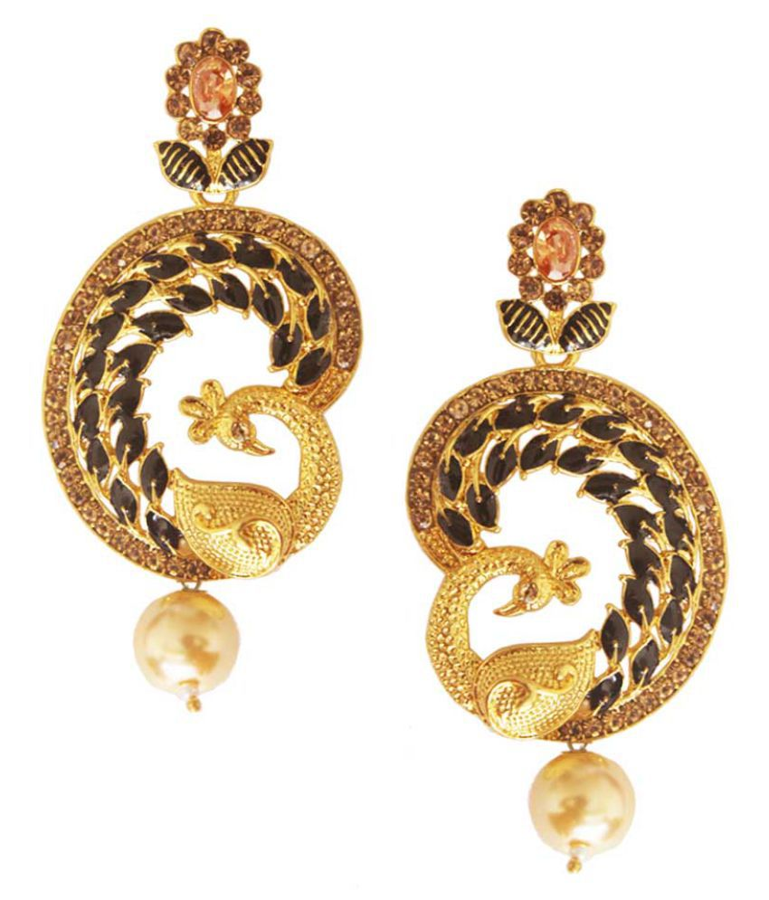 Beingwomen Multicolor  Glamorous Pearl & Stone Gold Plated Peacock  Earring