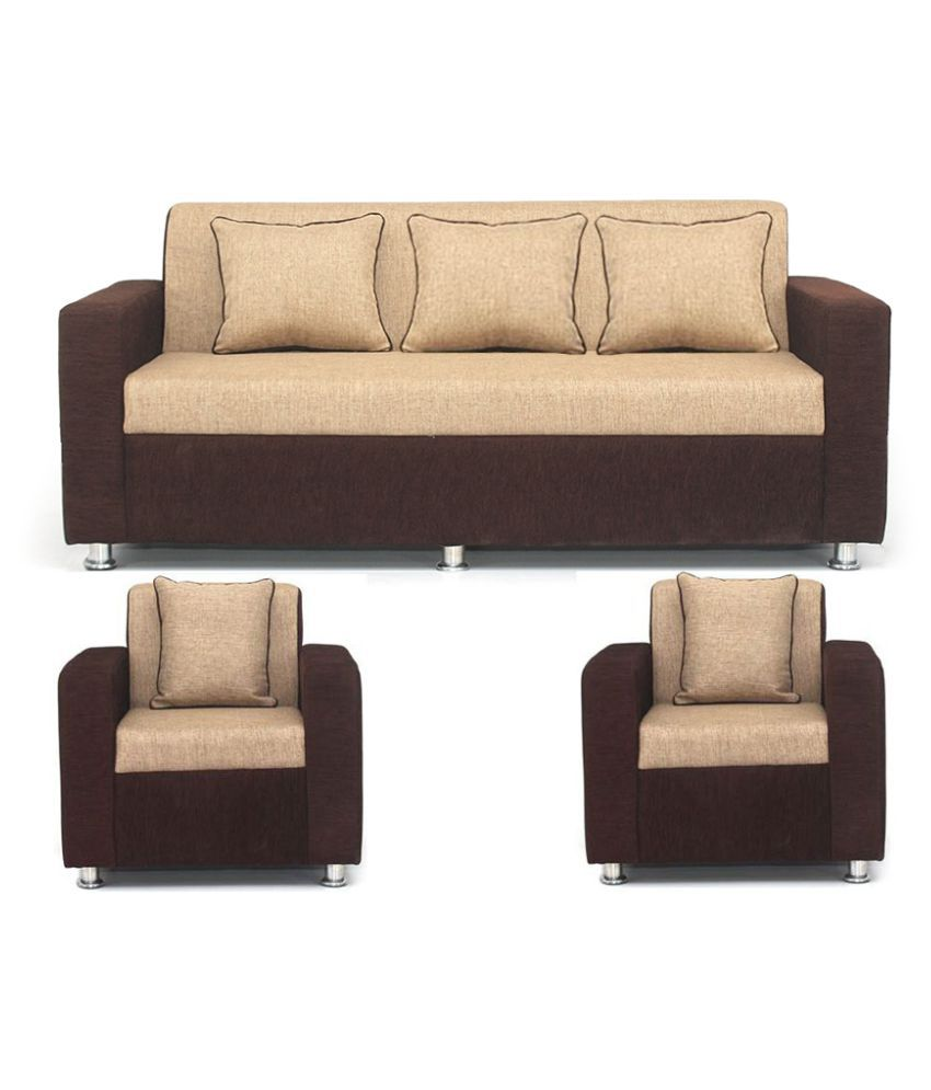 Bls Tulip Cream Brown Sofa Set 3 1 1 Buy Bls Tulip Cream Brown Sofa Set 3 1 1 Online At Best
