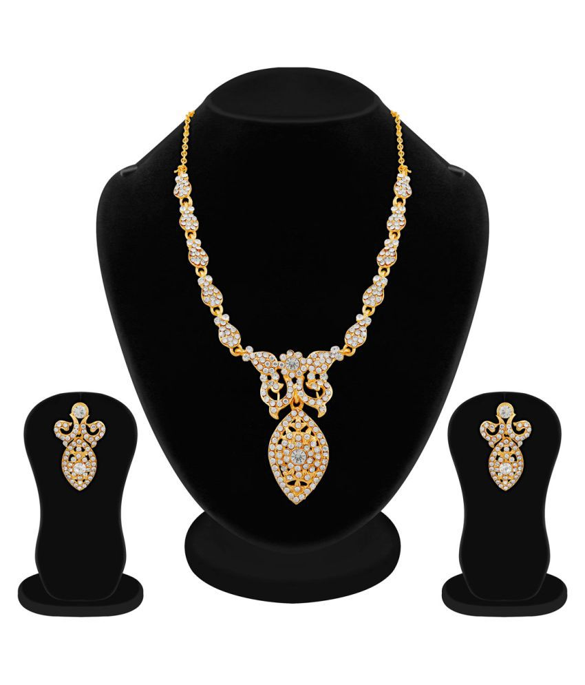 Apara Gold Plated Austrian Diamond Necklace Set For Women