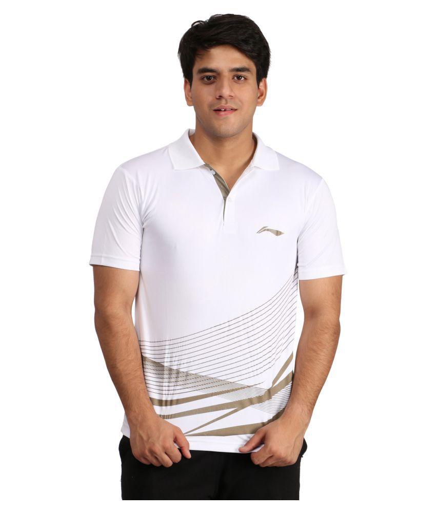Li-Ning White Polyester T-Shirt