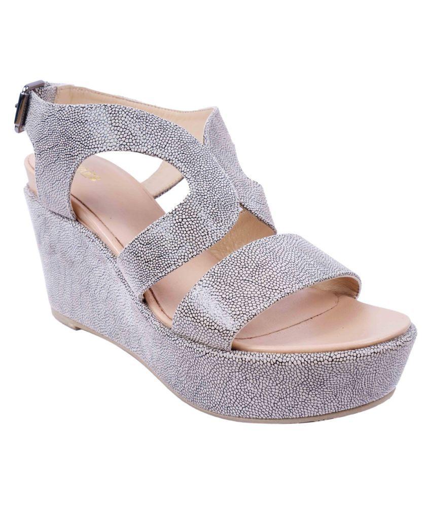 SWANSIND Silver Wedges Heels