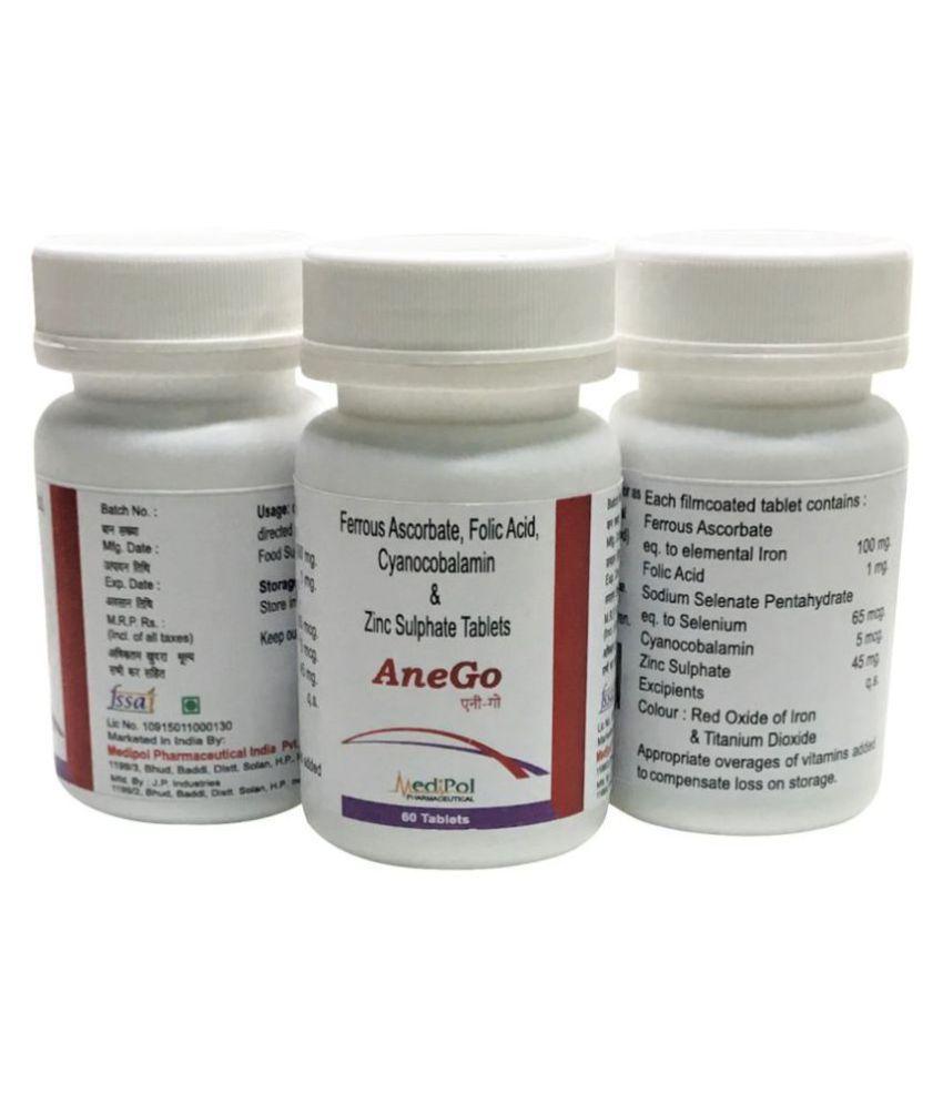 Anego Iron Folic B12 Zinc Tablets Food Supplement Tablets 60