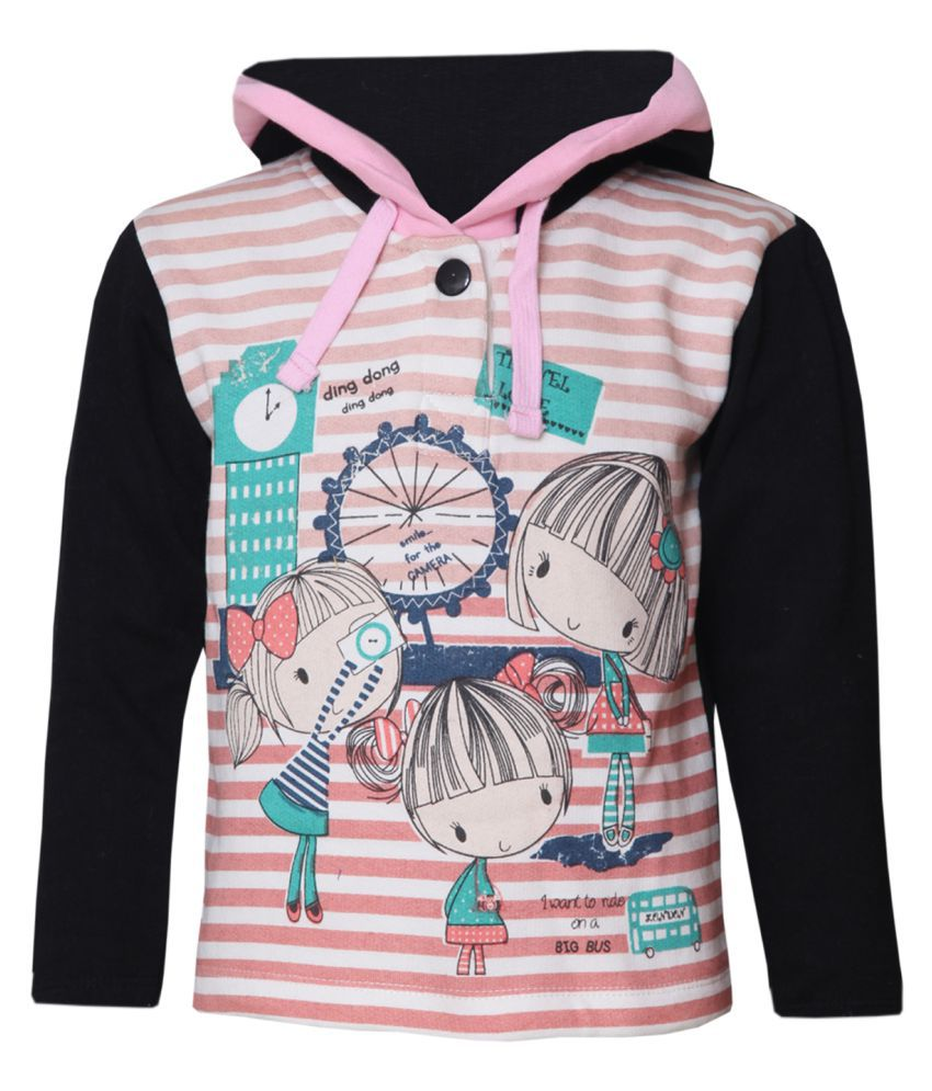 Tales & Stories Girls Peach Hoodie