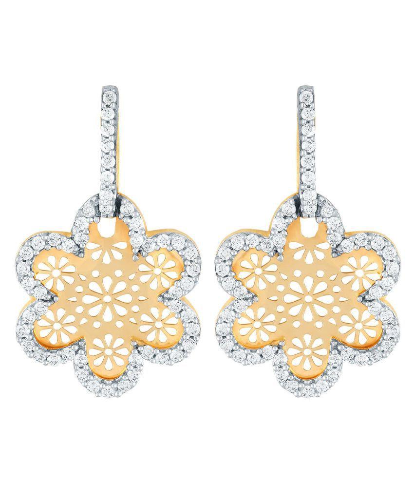 Nirvana 18k BIS Hallmarked Yellow Gold Diamond Drop Earrings