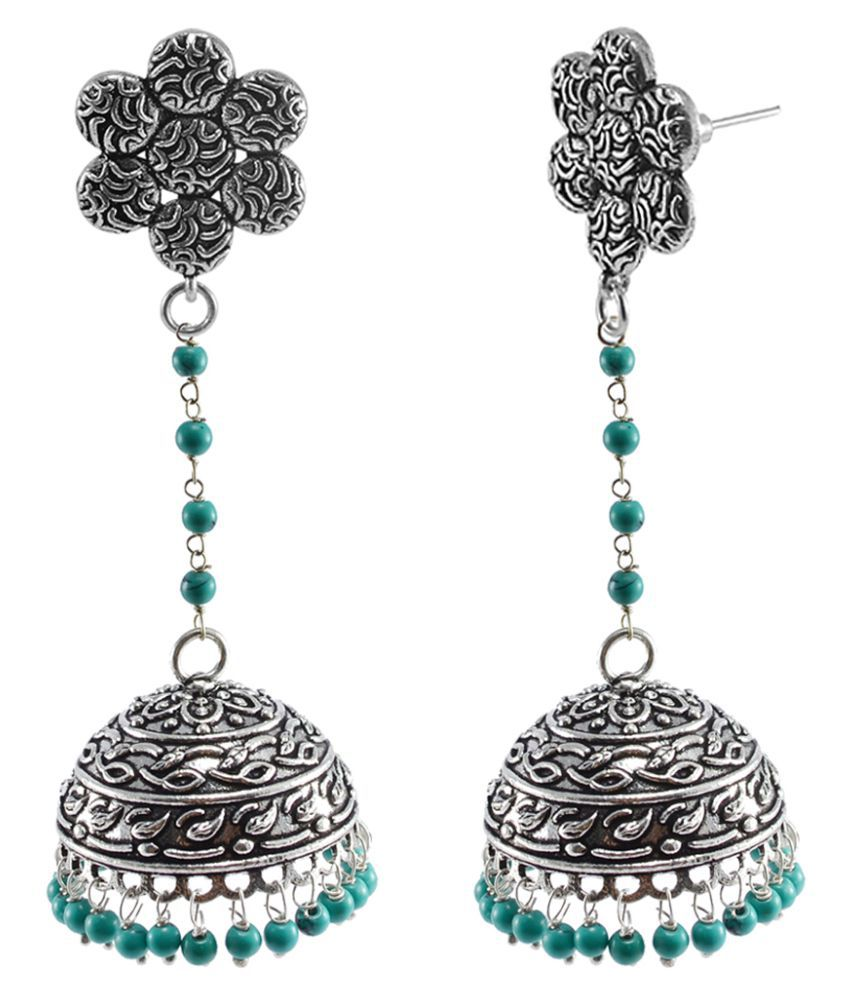 Flower Jhumki Studs With Treated Turquoise Beads Earring By Silvesto India PG-111011