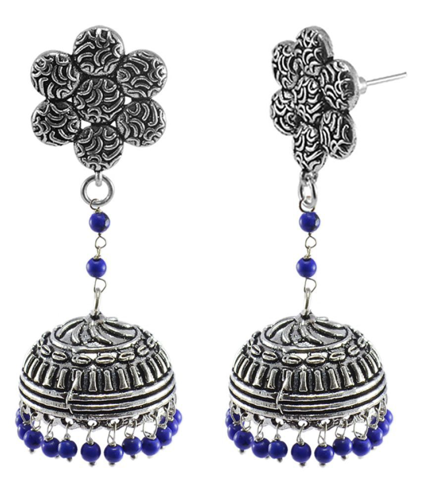 Indian Traditional Religious Flower Jhumka Earrings-Tribal jewellery,lapis Jhumki By Silvesto India PG-111223