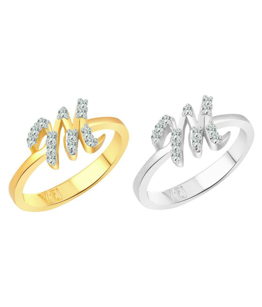 Vighnaharta Marvelous ''M'' Letter Selfie (CZ) Gold and Rhodium Plated Alloy Combo Ring Set for Women and Girls - [VFJ1189FRSLF13]