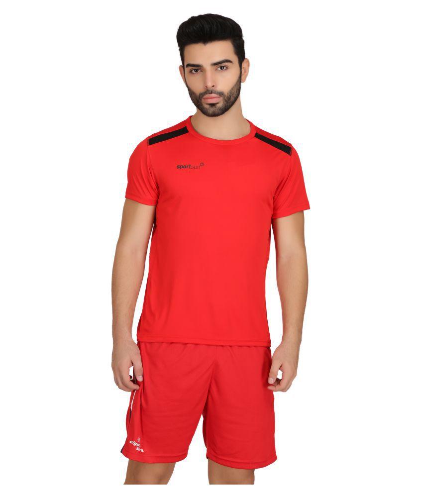 Sport Sun Red Round T-Shirt
