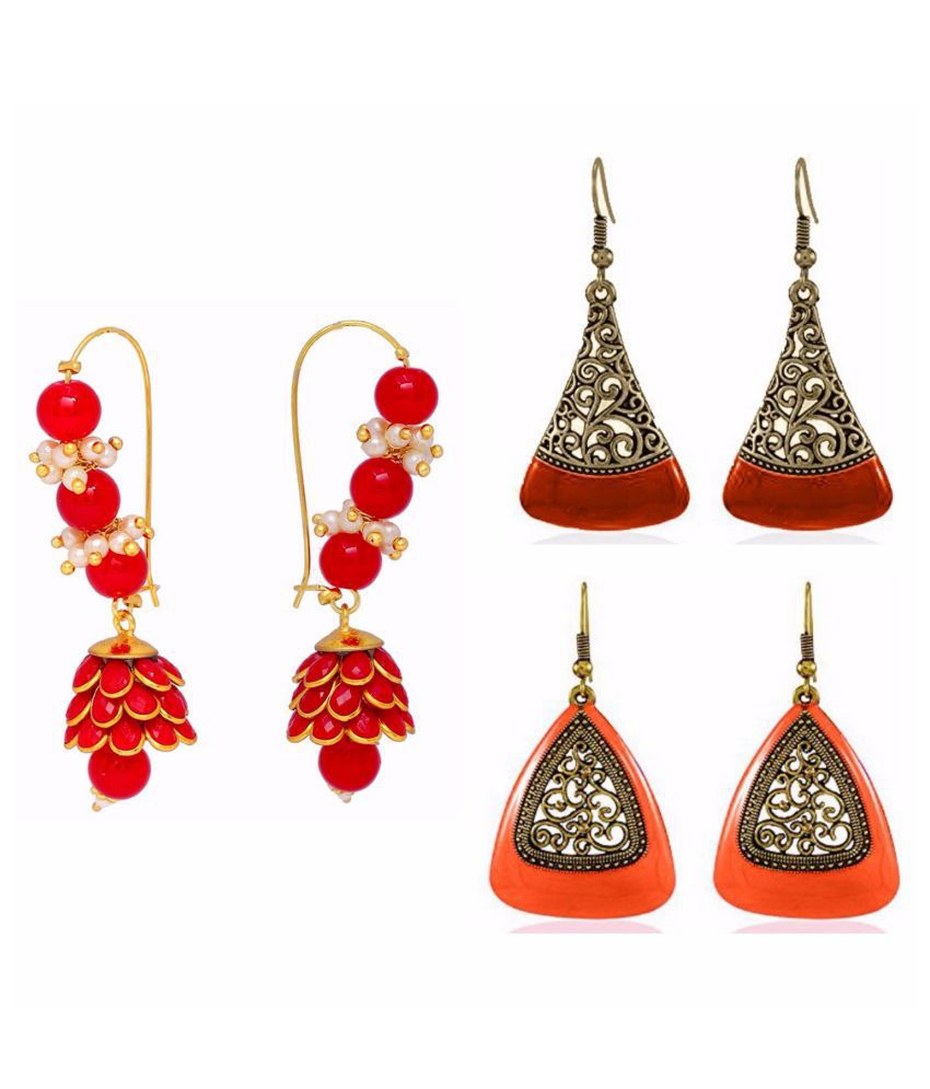 Archi Collection Jewellery Combo of Ethnic Fancy Party Wear Red Paachi Pearl Jhumki Earring & Oxidised Silver Earrings for Girls and Women