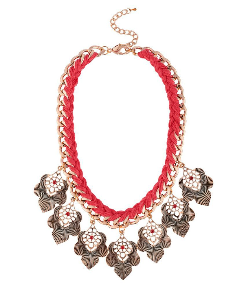 AccessHer Western Statement Gold Choker Necklace with Multi Color Beads For Women