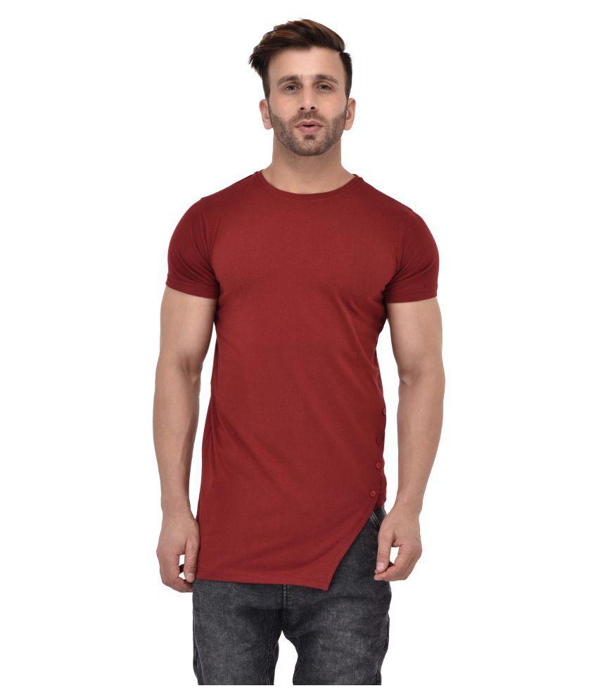 STITCH STUDIOS Maroon Round T-Shirt