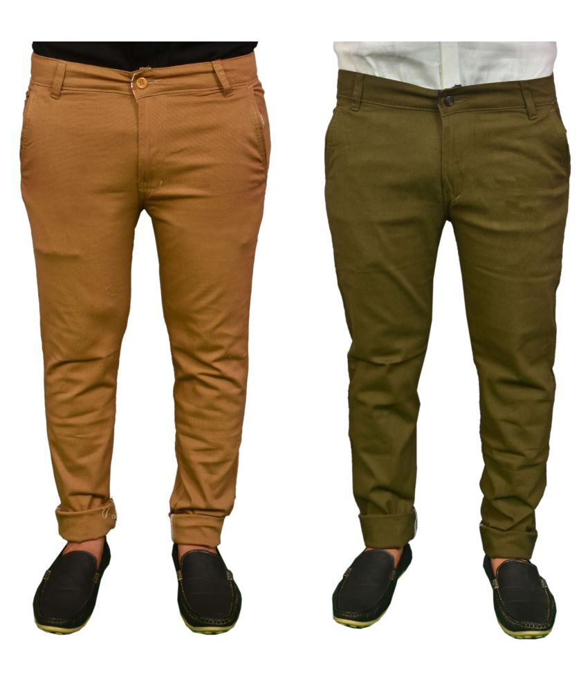 REDMAPLEJEANS Green Regular -Fit Flat Chinos