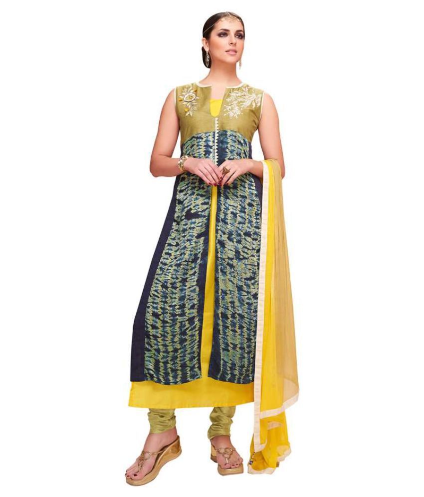 Kumaran Silks Yellow Satin Straight Stitched Suit