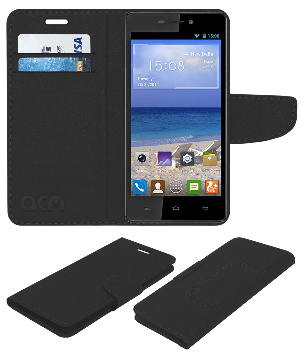 Gionee M2 Flip Cover by ACM - Black