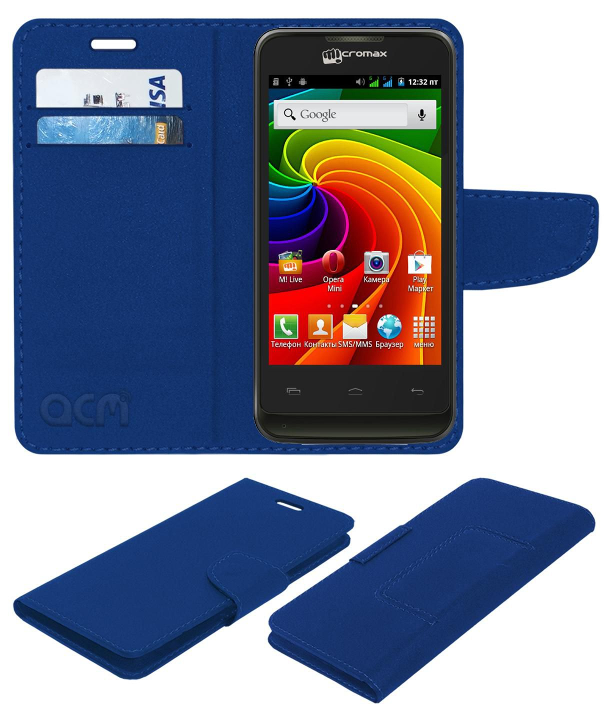 Micromax A36 Flip Cover by ACM - Blue