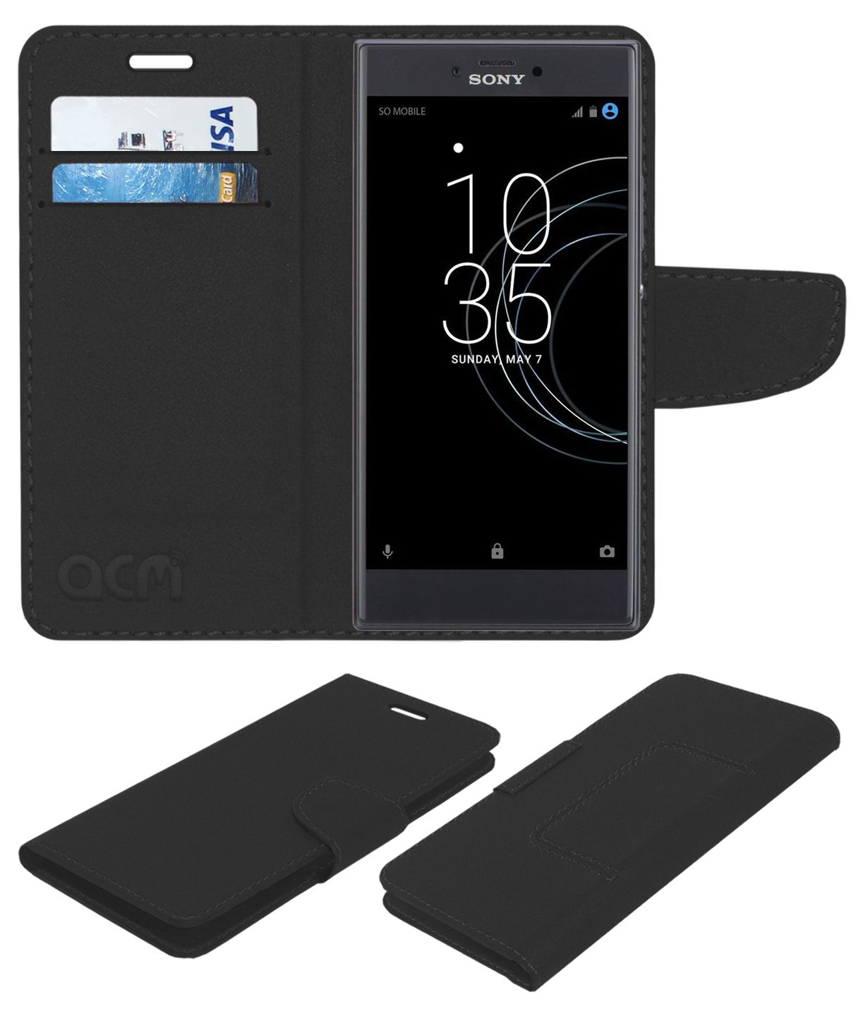 purchase cheap d25a8 fe382 Sony Xperia R1 Plus Flip Cover by ACM - Black