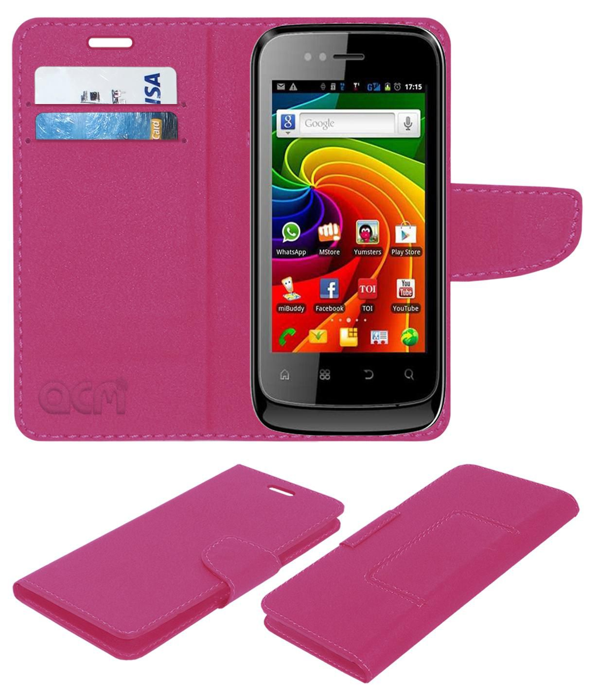 Micromax A45 Flip Cover by ACM - Pink