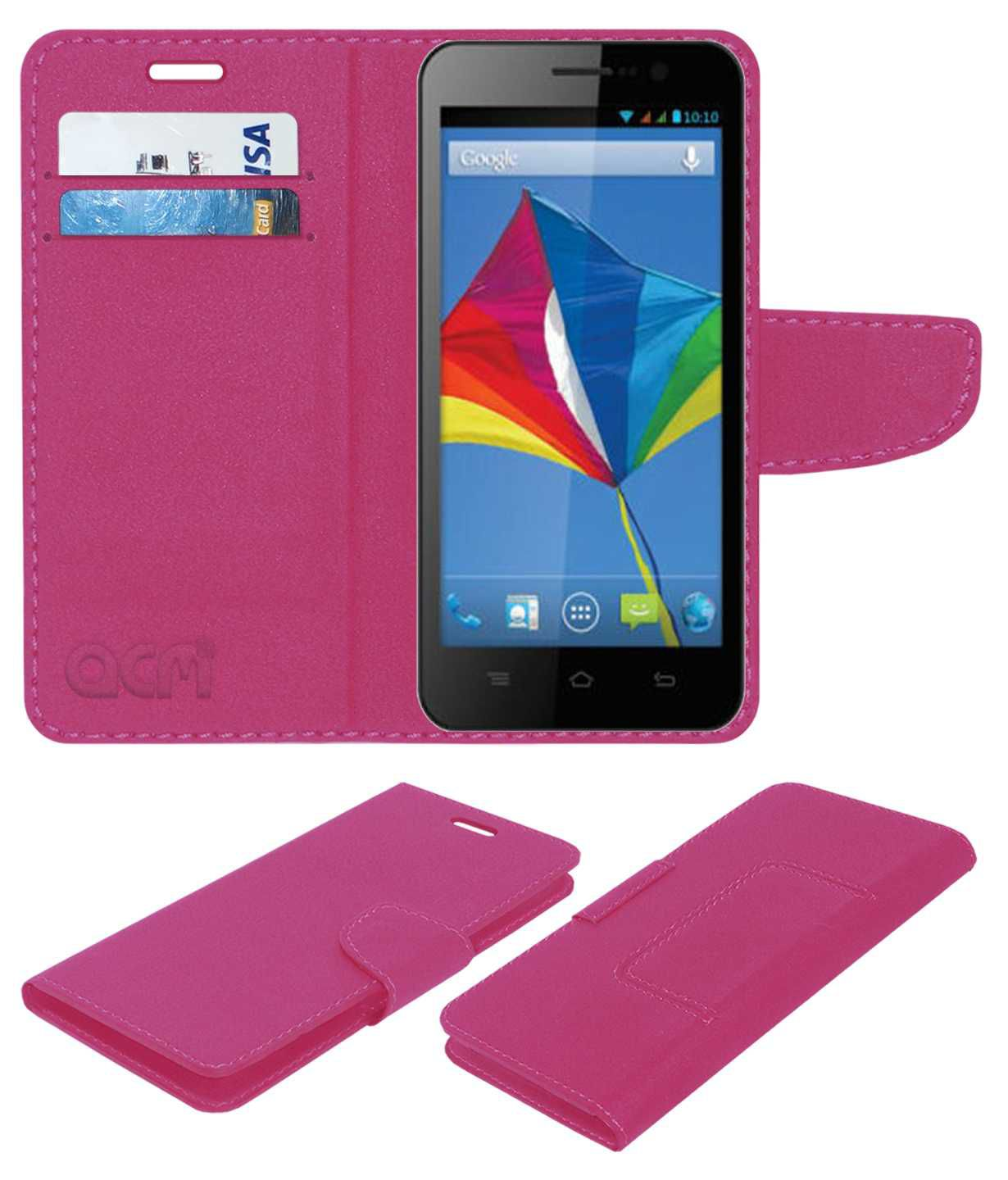 Videocon A55Q HD Flip Cover by ACM - Pink