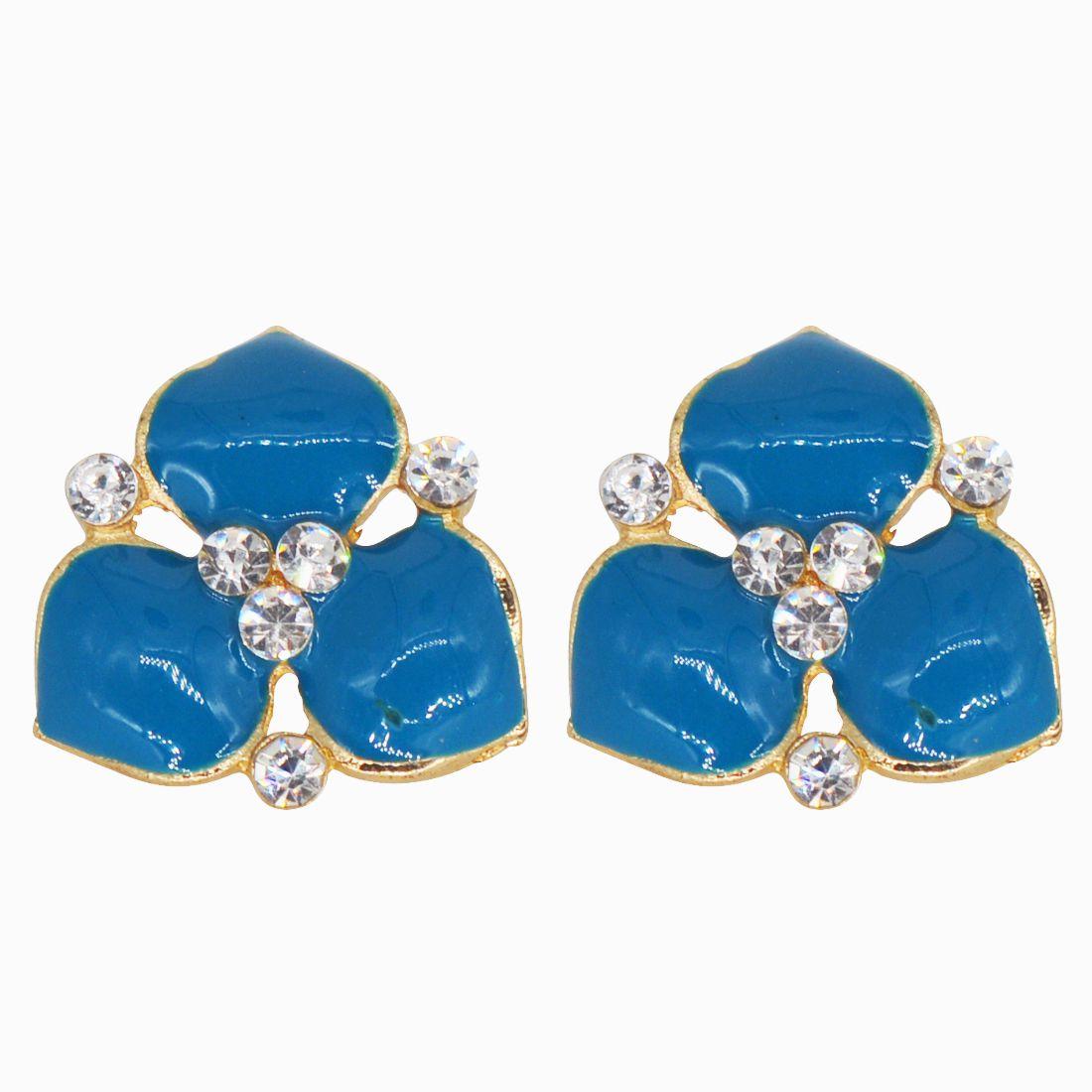 Glitters Floral Designer Light  Blue Enamel Earrings for Women / Girls