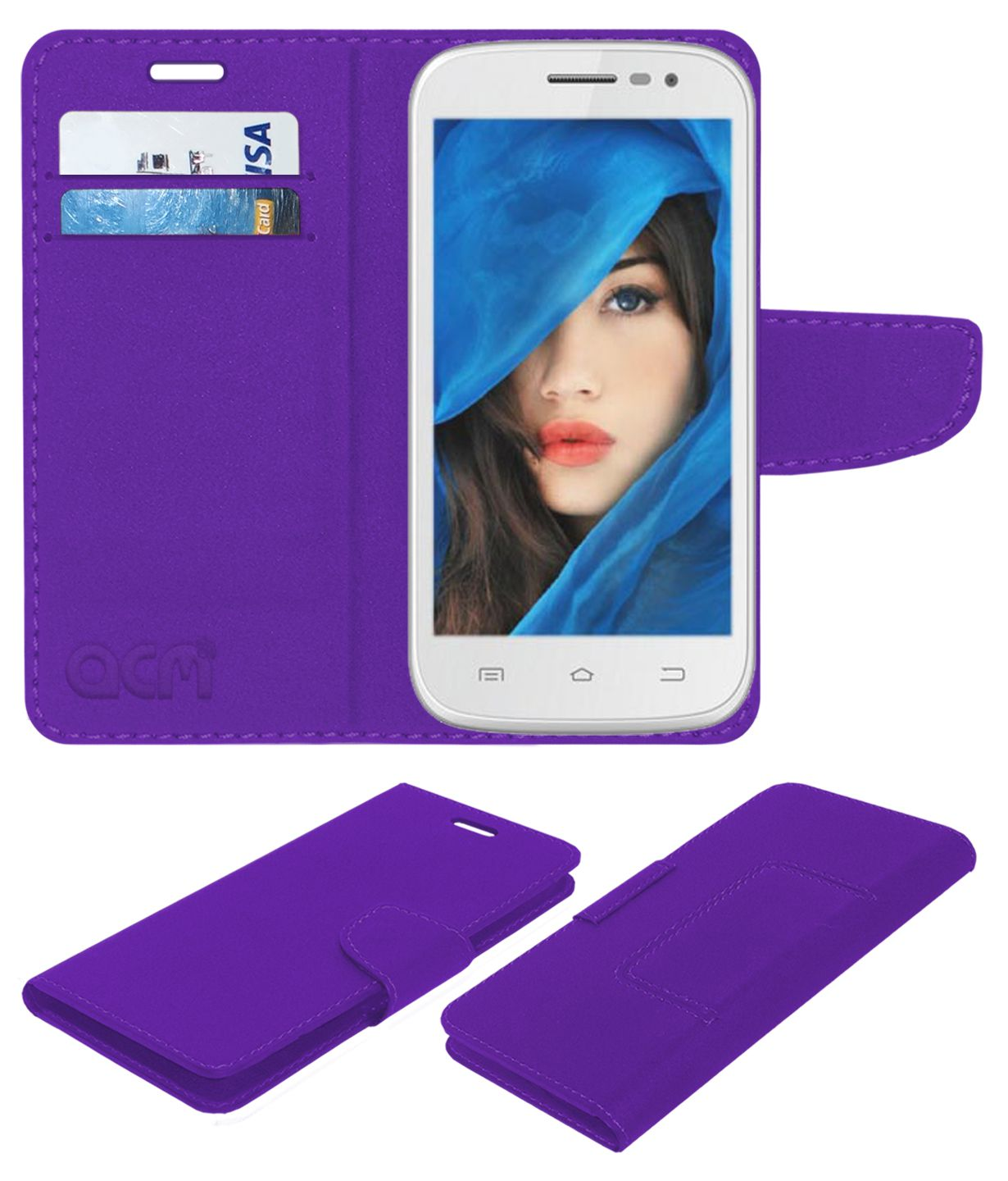Intex Cloud Z5 Flip Cover by ACM - Purple