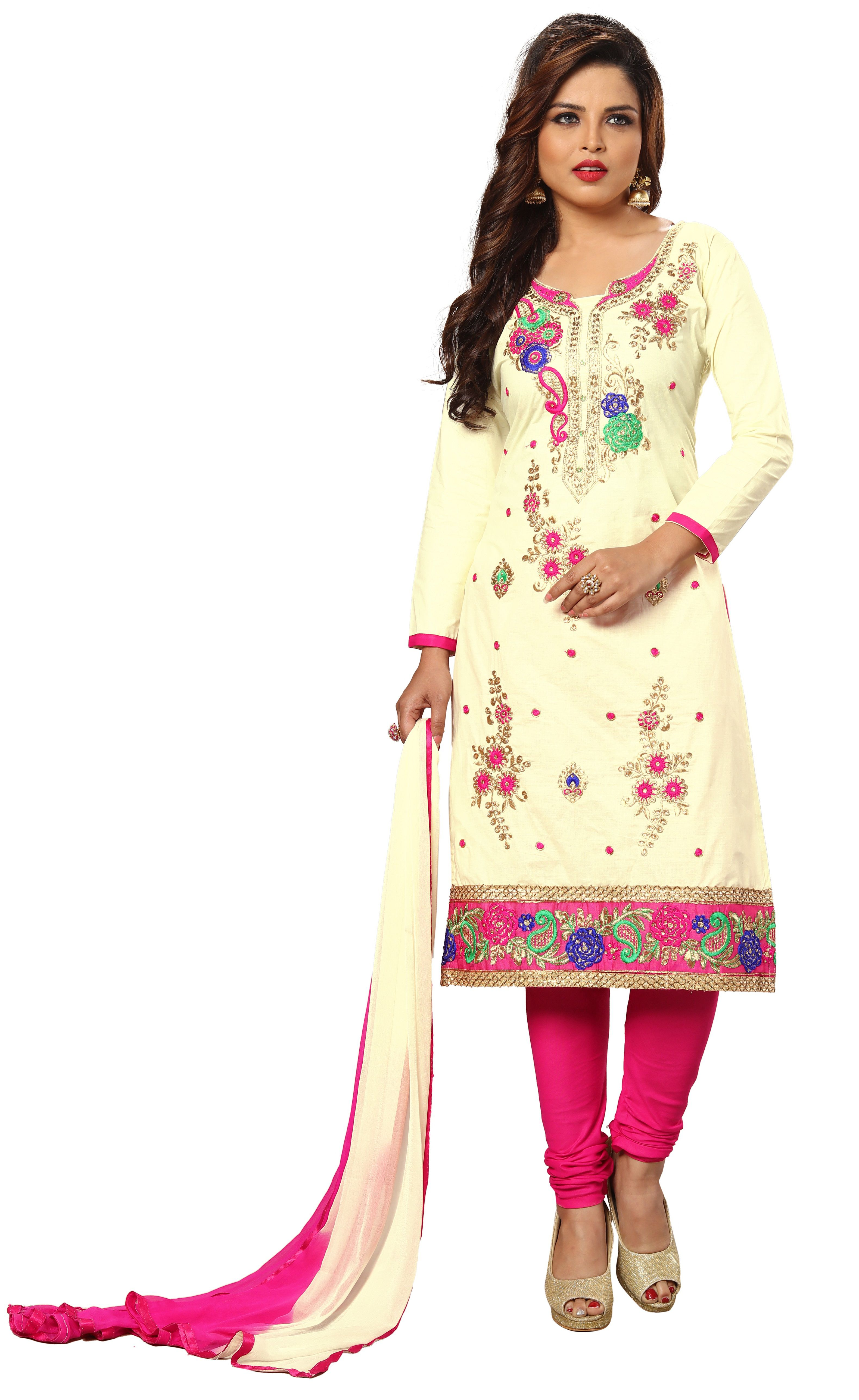 a1d547797 Nivah Fashion Pink and Beige Cotton A-line Semi-Stitched Suit - Buy ...
