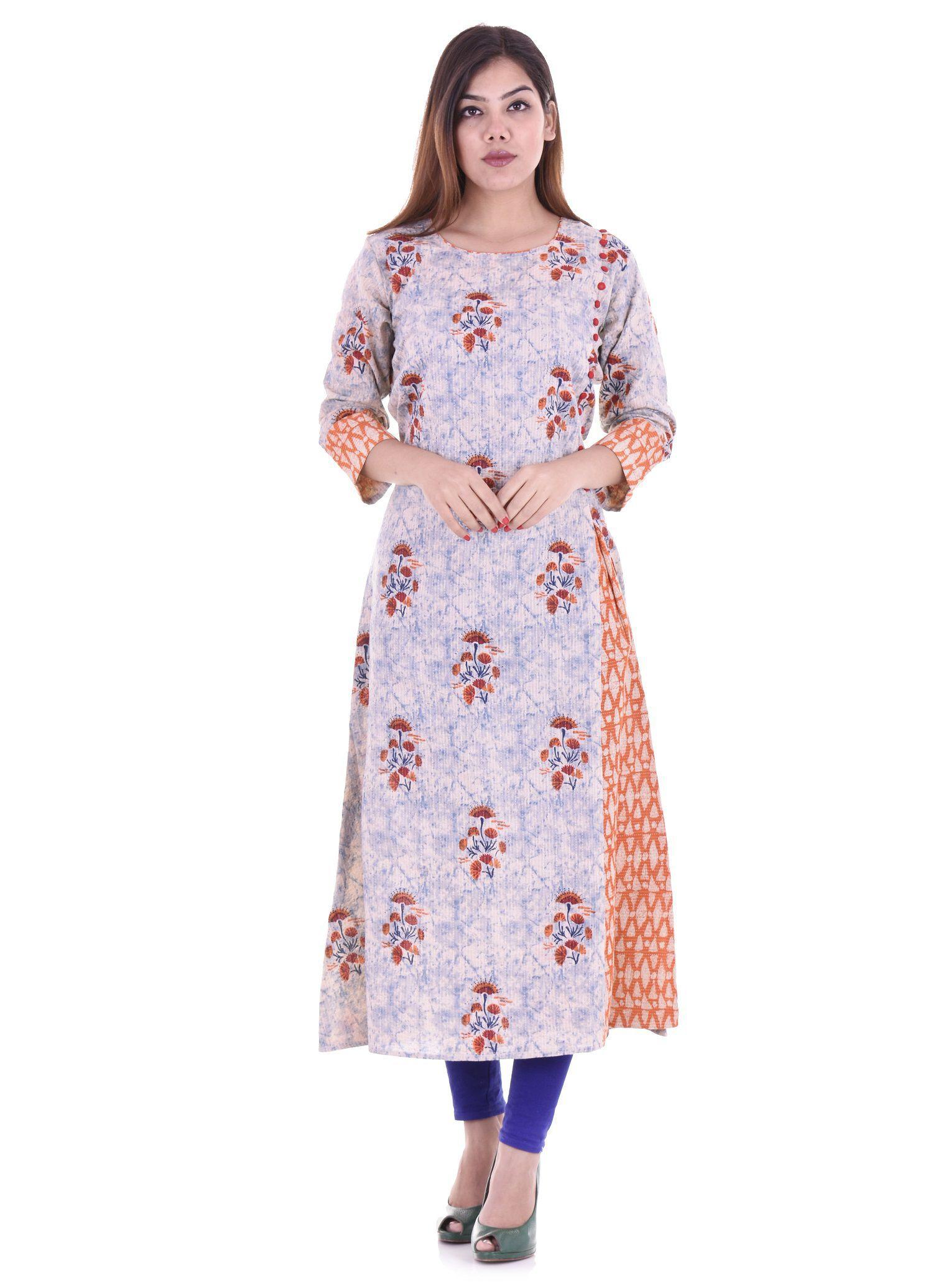 Samayra Looks Orange Cotton A-line Kurti