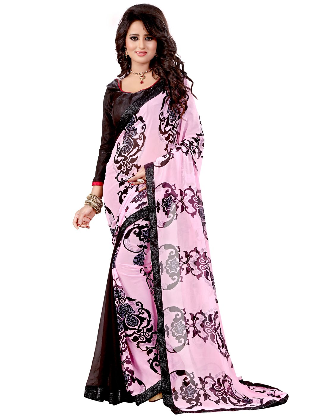 The Mammoth Store Pink Georgette Saree