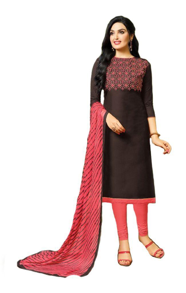 Shree Ganesh Retail Brown Jacquard Dress Material
