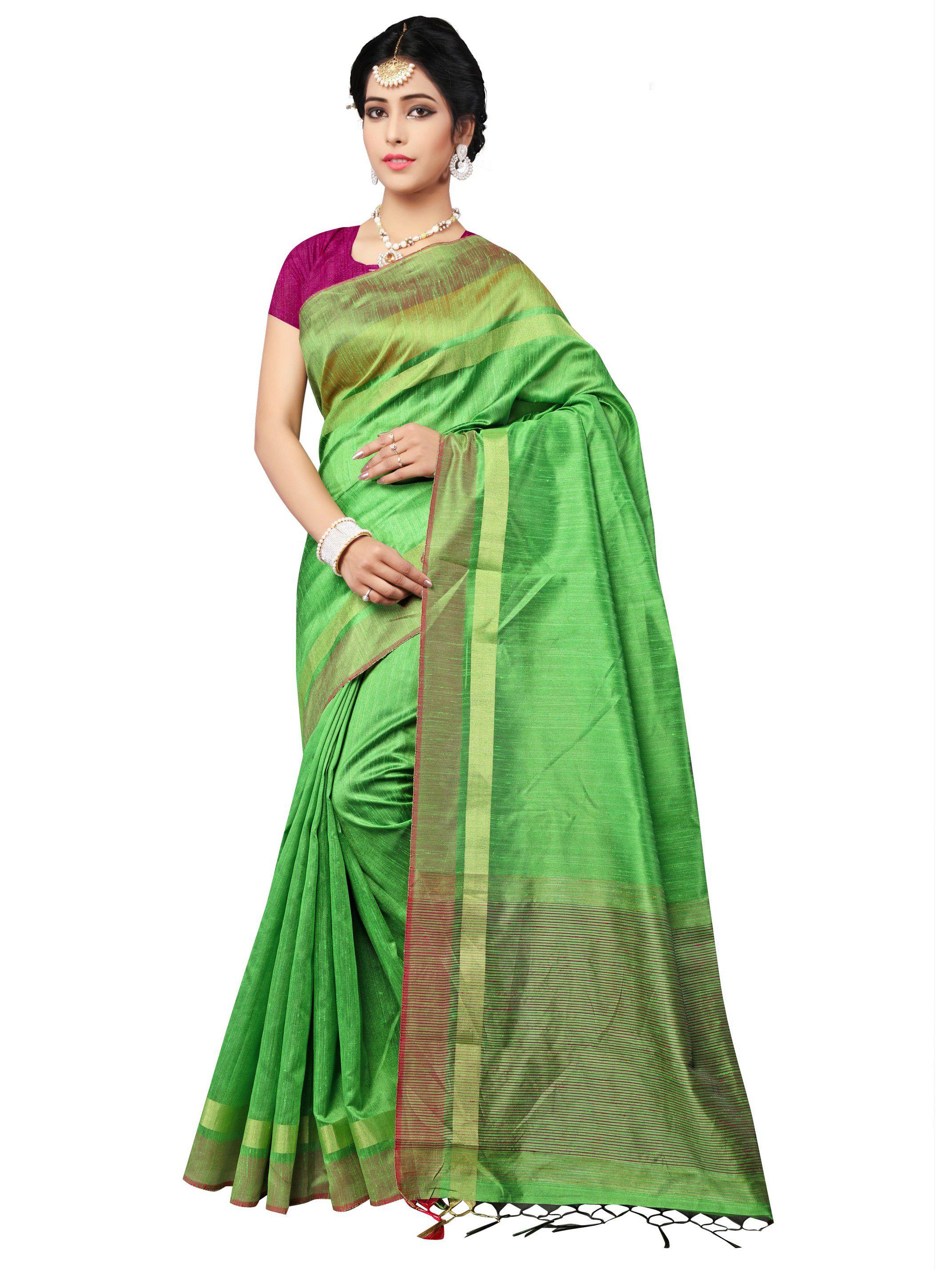 Vastrang Green Bhagalpuri Silk Saree