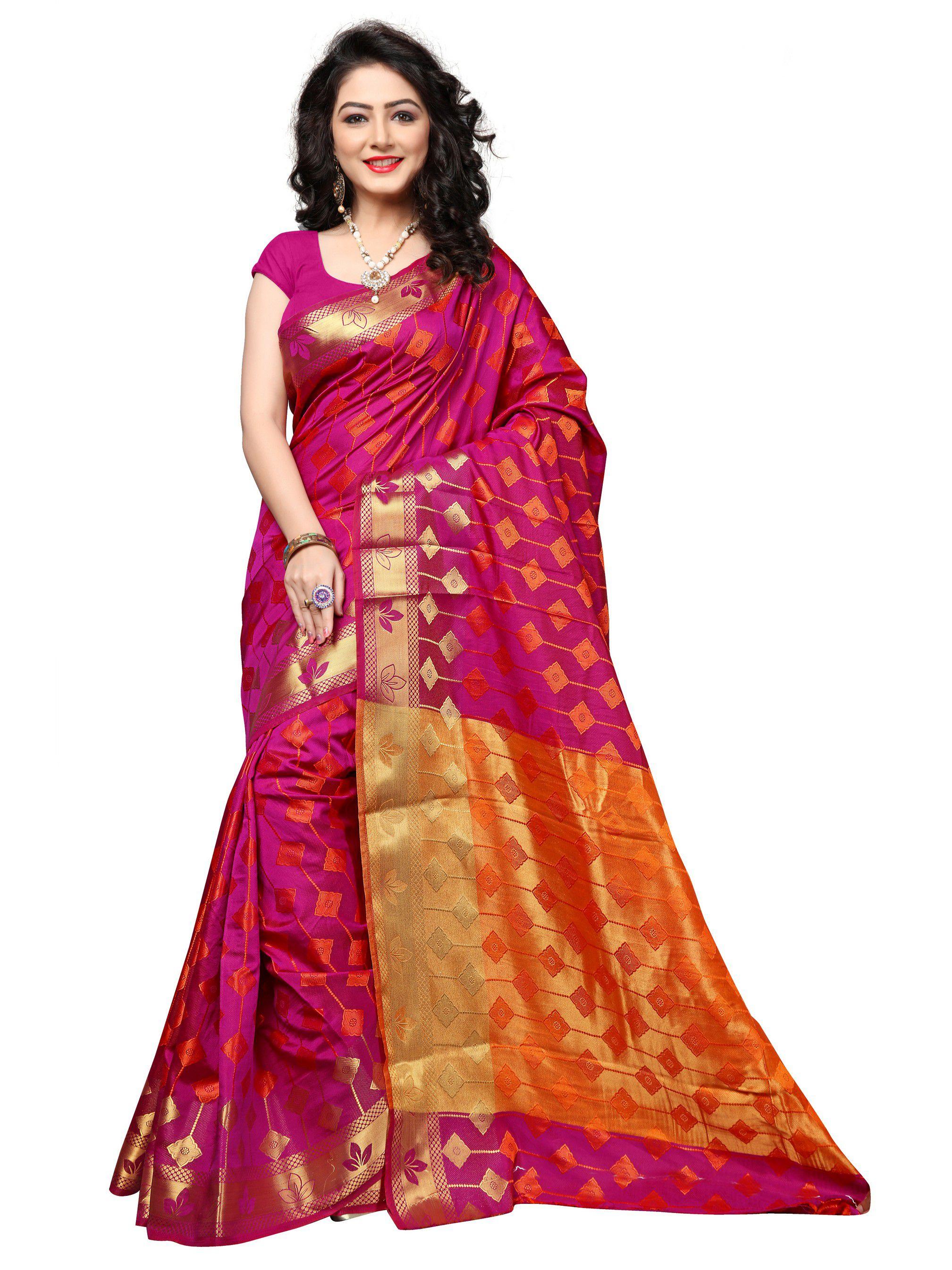 Vastrang Pink Silk Saree