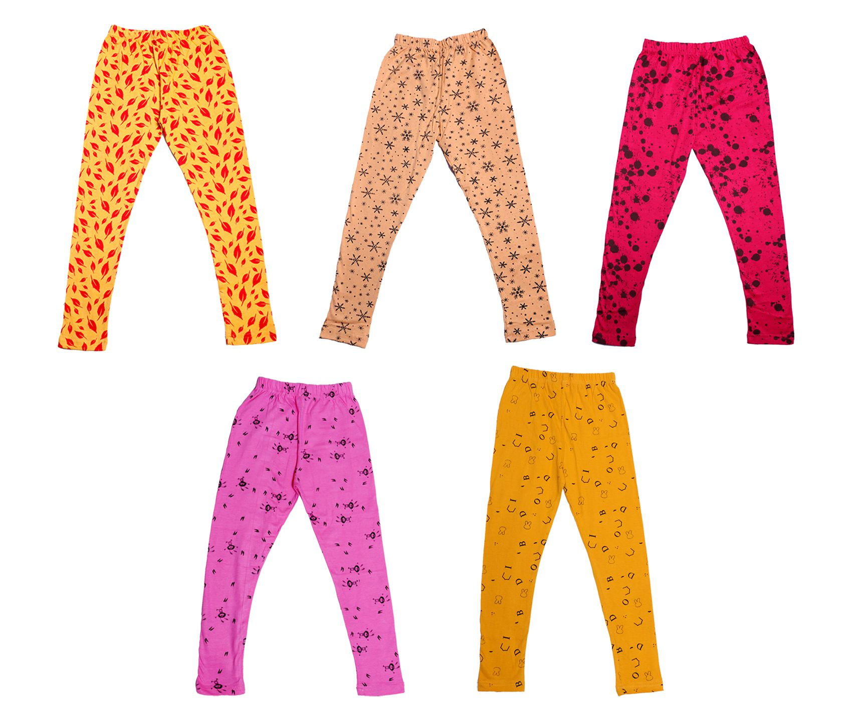 Pack Of 4 indiWeaves Girls Super Soft and Stylish Cotton Printed Legging