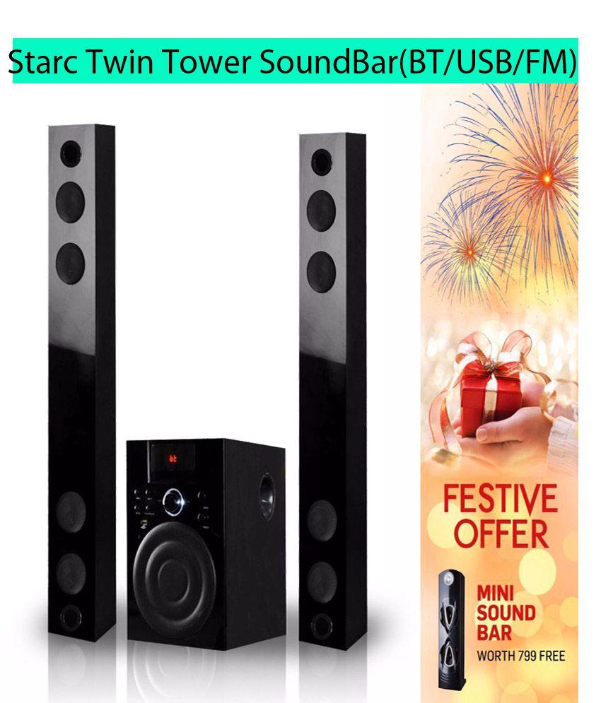 Starc SBC34 Twin Tower Soundbar with Bluetooth,USB,FM Radio,AUX-IN,SD/MMC