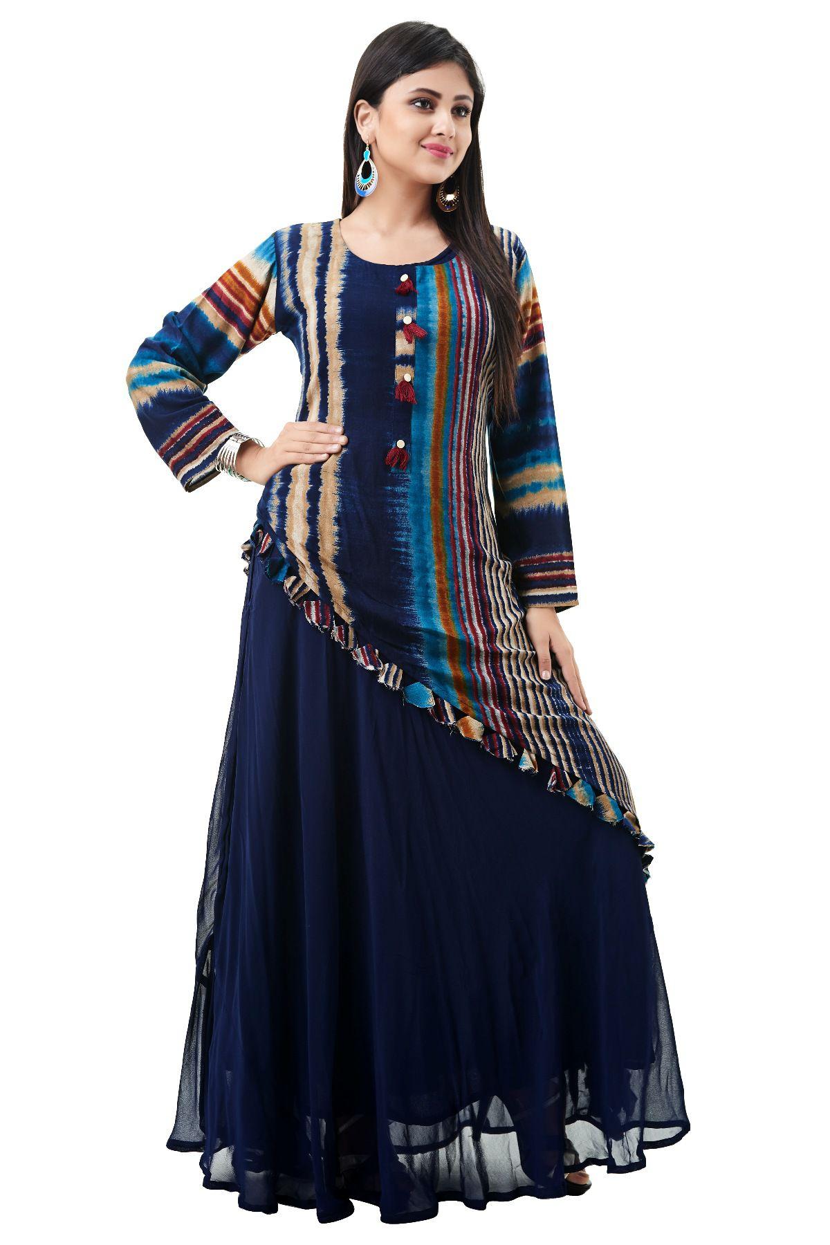 Fida Rayon Blue Gown