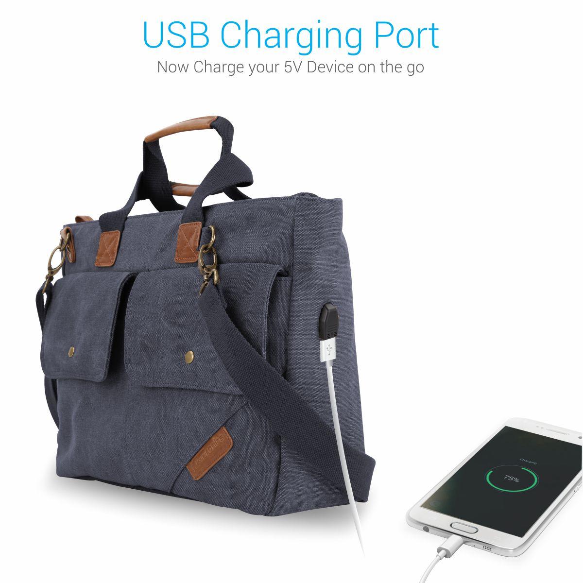 Portronics Por 867 Purple Canvas Laptop Office Bag College 15 Inch