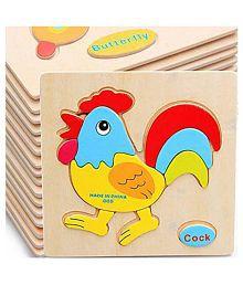 Pepperonz Wooden Kid Cartoon Animal Plane Fruit Design Puzzle Game Educational Toy - 12 Pcs