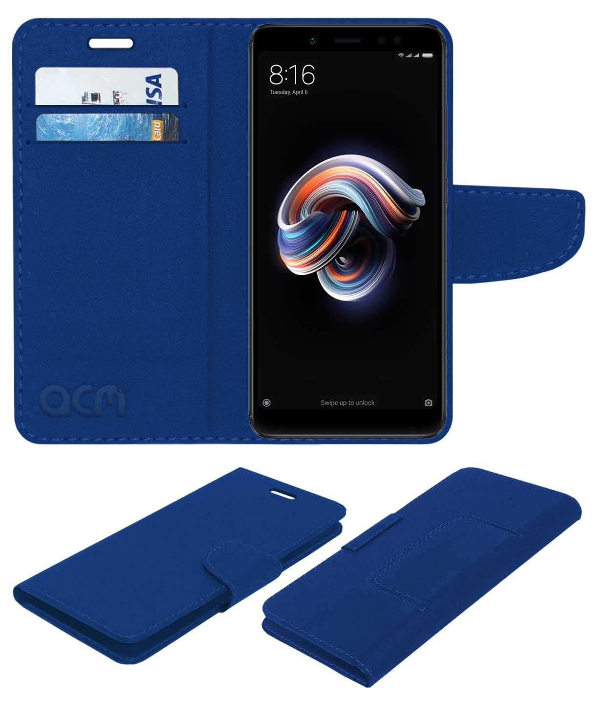 reputable site 0c334 704a1 Xiaomi Redmi Note 5 Pro Flip Cover by ACM - Blue