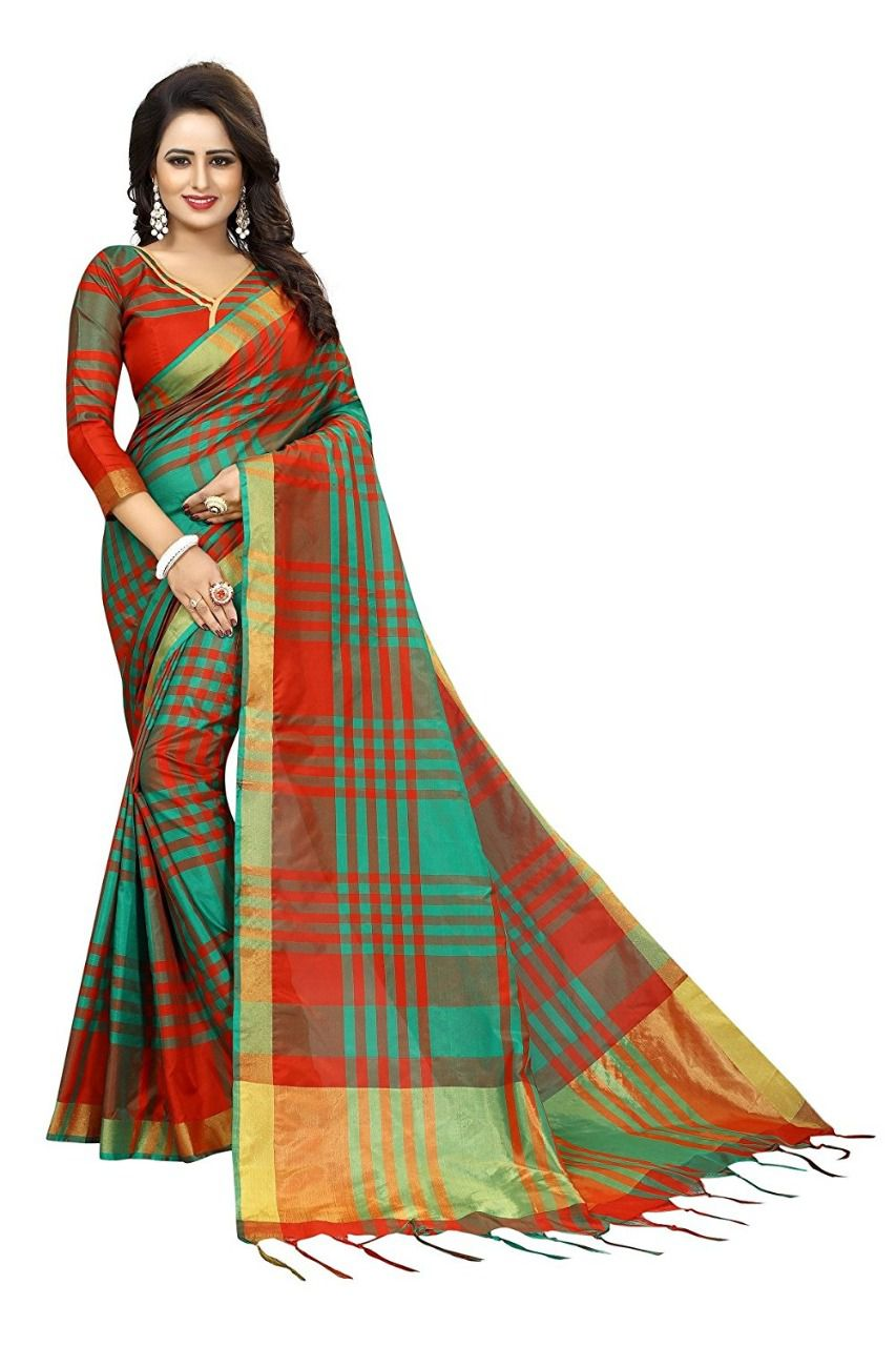 4a9a8fb504 Ethnic India Red Cotton Silk Saree - Buy Ethnic India Red Cotton Silk Saree  Online at Low Price - Snapdeal.com