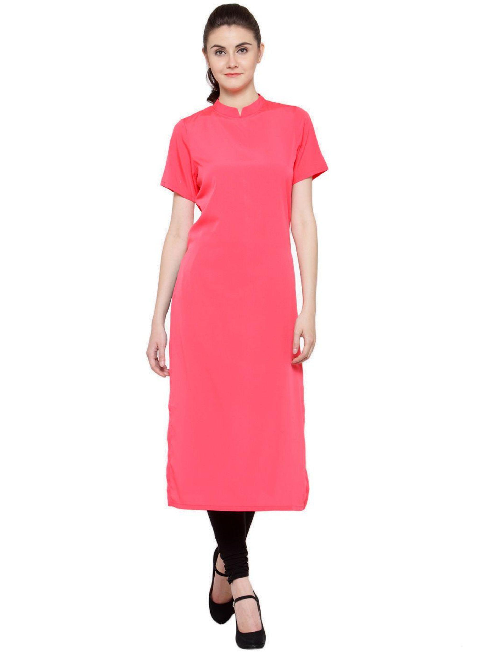 Urbane Woman Pink Crepe A-line Kurti