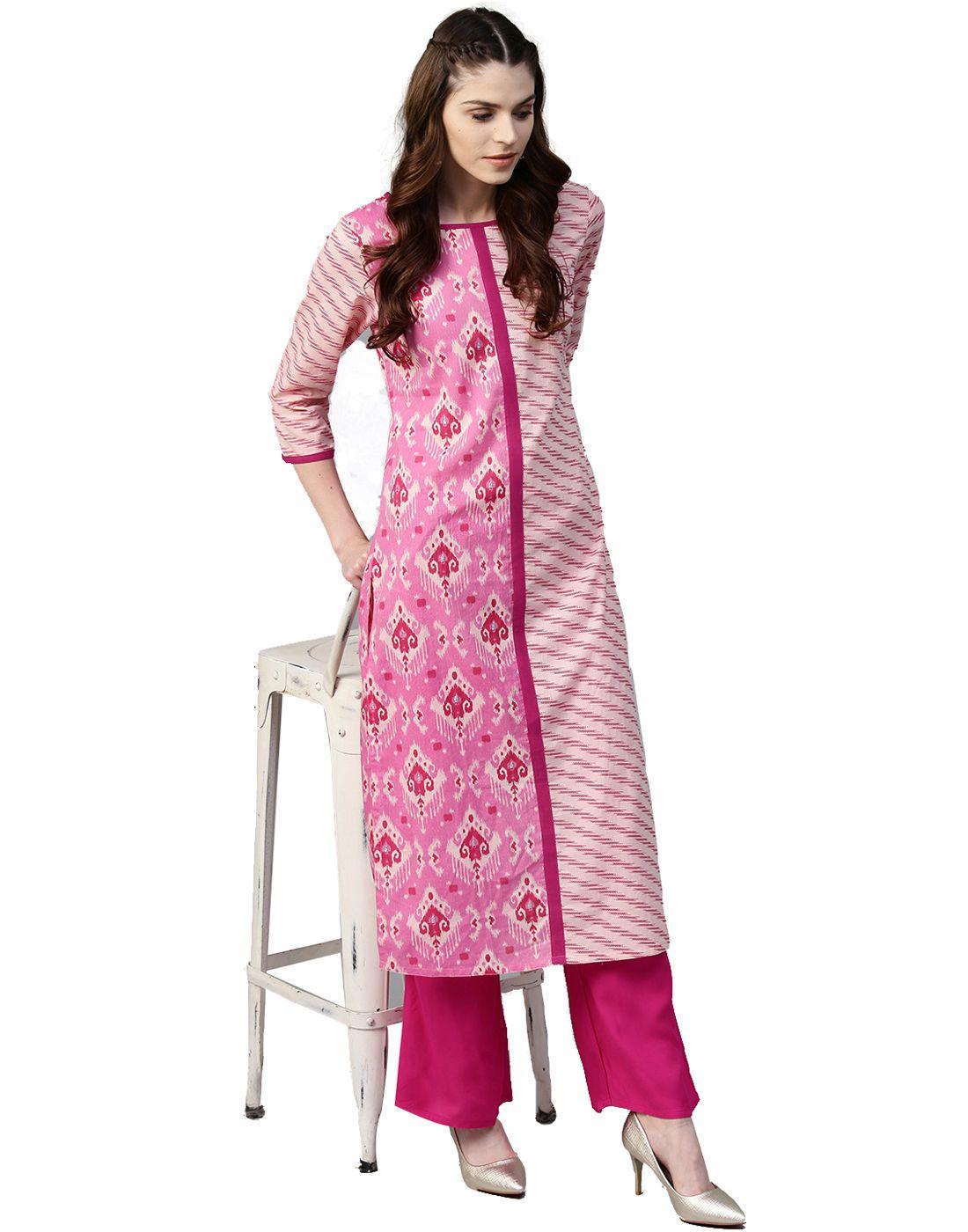 d3adc163ca Jaipur Kurti Cotton Kurti With Palazzo - Stitched Suit