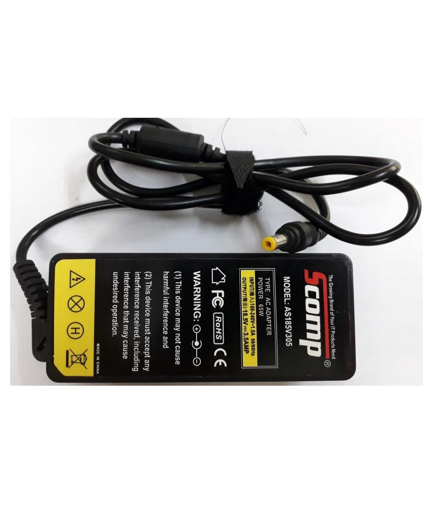 Scomp Laptop adapter compatible For HP 18.5V 3.5A yellow tip(Normal Tip)