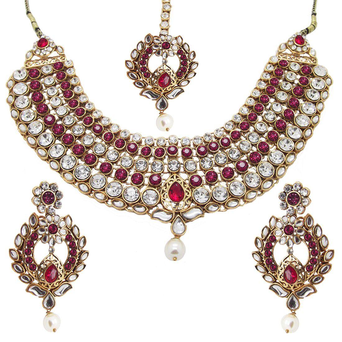 NAMI Dark Pink Bridal Statement CZ Kundan Gold Plated Necklace Set