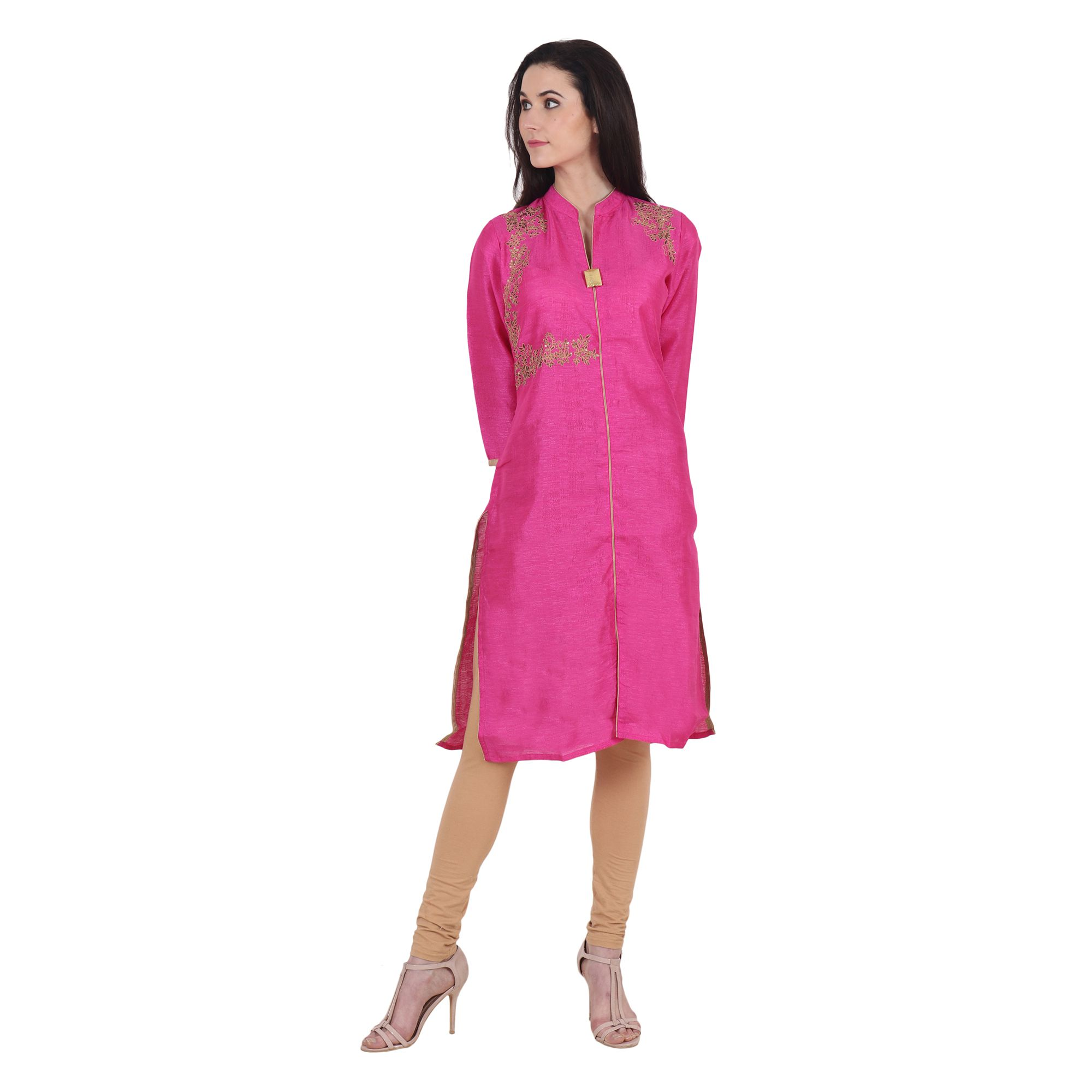 PURPLE TREE Pink Dupion Silk Straight Kurti