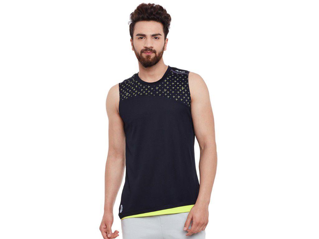 Alcis Mens Black Printed Sleeveless Tshirt