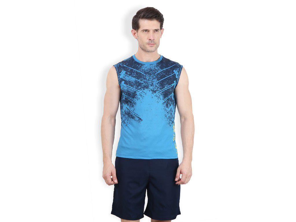 Alcis Mens Blue Printed Sleeveless Tshirt
