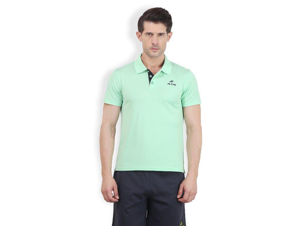 Alcis Mens Green Solid Polo Tshirt