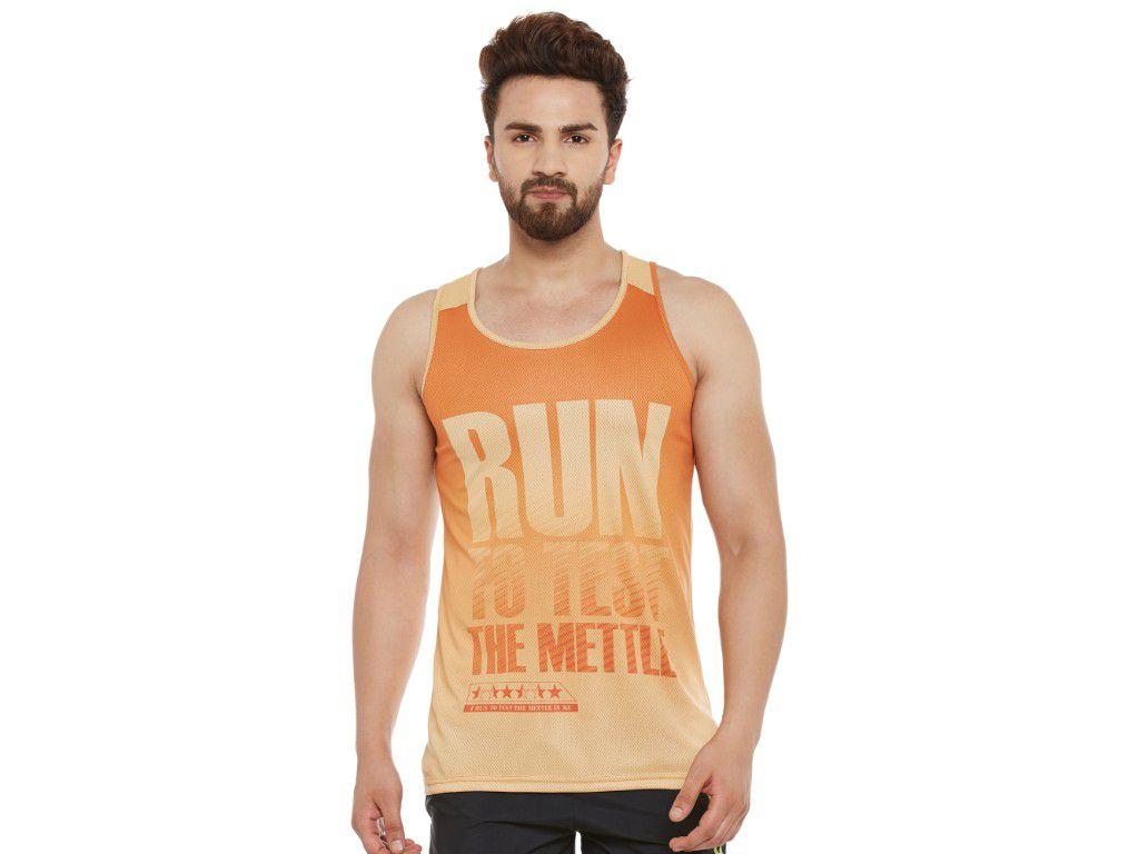 Alcis Mens Orange Printed Sleeveless Tshirt